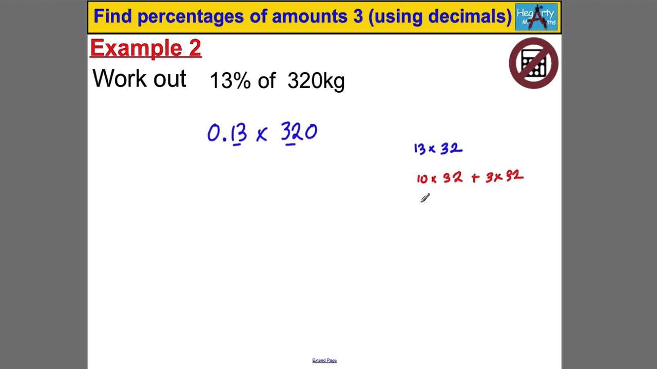 how to find percentages on calc