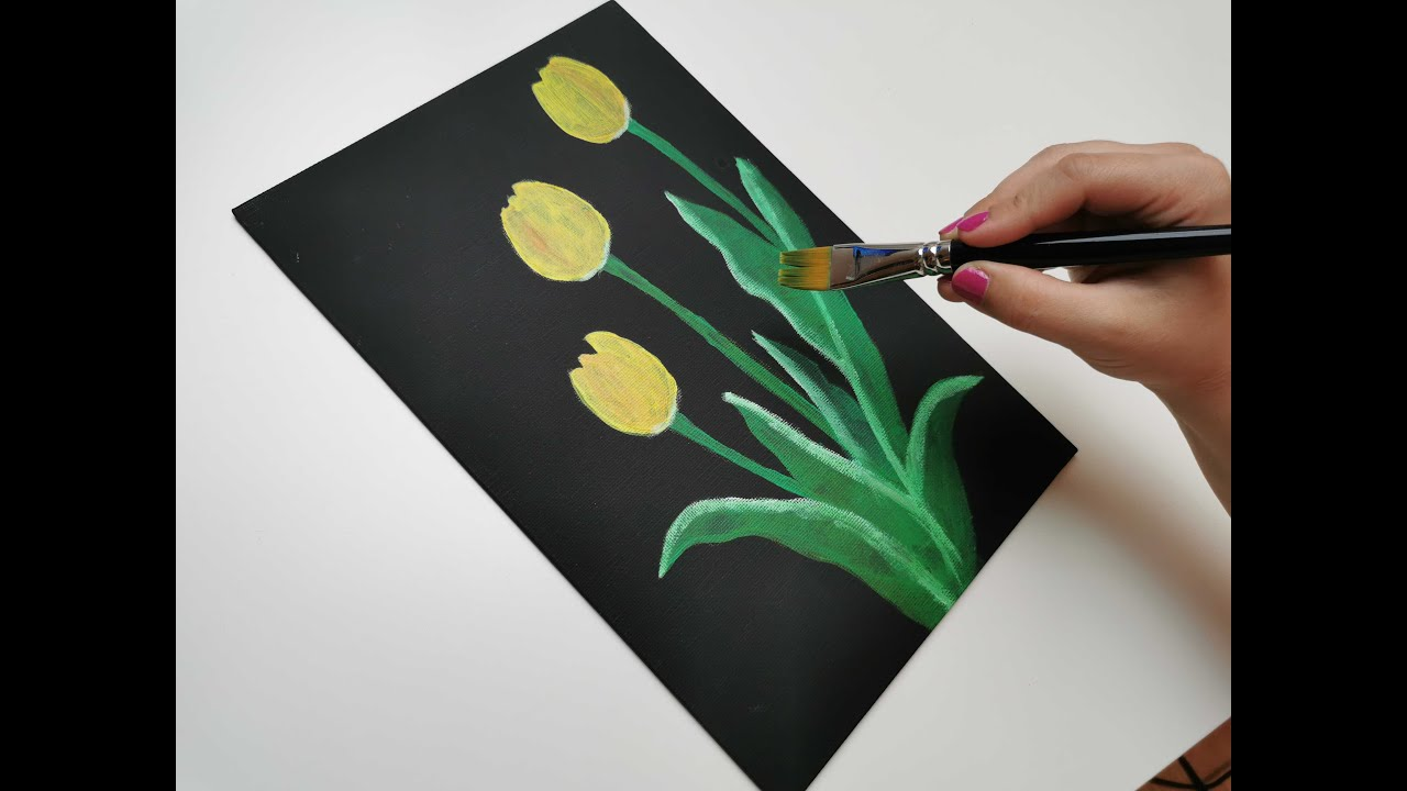 Yellow Tulips On Black Canvas Easy Acrylic Art Painting By Beginners Step By Step Youtube