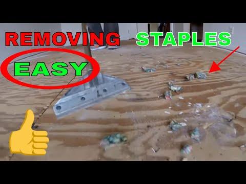 REMOVING CARPET PAD STAPLES FAST