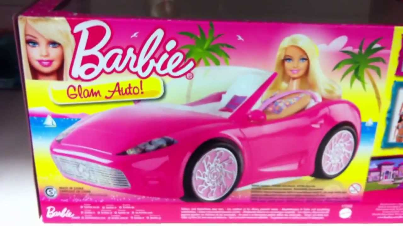 overview of barbie doll and glam pink convertible car. Black Bedroom Furniture Sets. Home Design Ideas