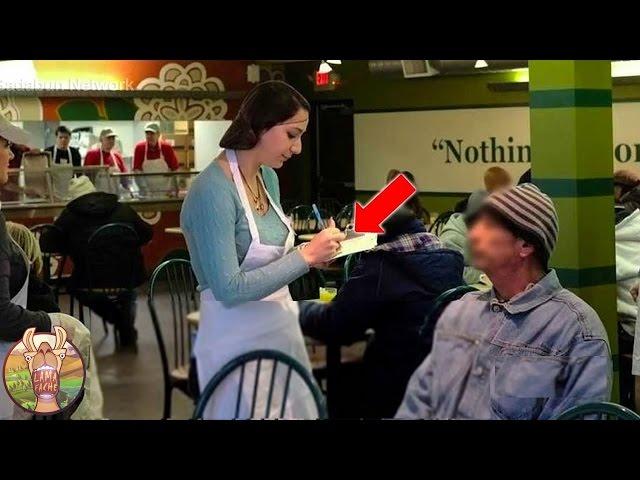 Une serveuse traita un vagabond aimablement. Quand elle sut qui c'était, Ses larmes coulèrent