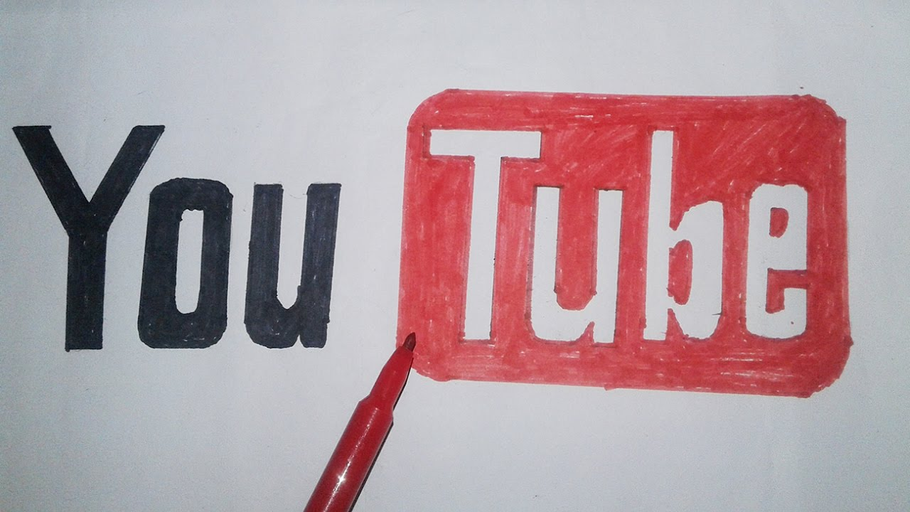 How To Draw The Youtube Logo Easy Step By Step Instructions  Dessinez Le  Logo Youtube Logo Drawing