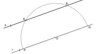 Recta paralela a otra dada por un punto exterior (método del compás)