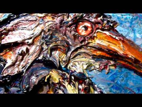 Original oil painting art wild animal impressionism realism bird abstract  - x1225