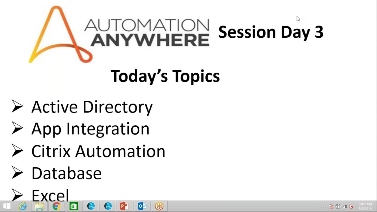 Automation Anywhere Training ||Active Directory|Citrix Automation|App  Integration|