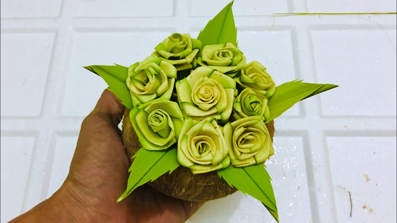 Hoa Hồng Lá Dừa – Lá Cọ Cách Đan 8 – SÁNG TẠO LÁ DỪA