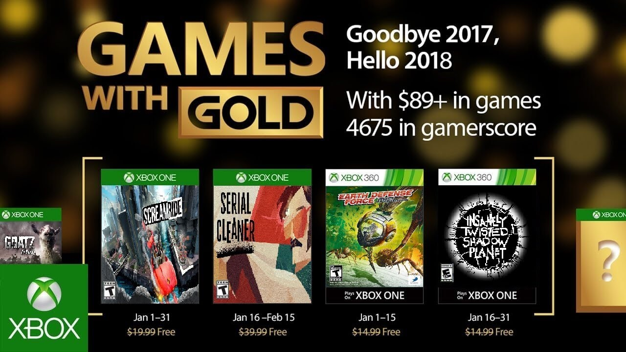 The Games With Gold For January 2018 Xbox One And 360