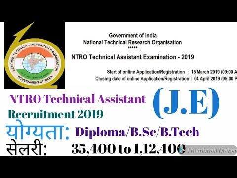 NTRO Technical Assistant {J.E} Recruitment 2019 for Diploma/B.Sc/B.Tech Student