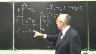 Определение  реакций опор простой рамы