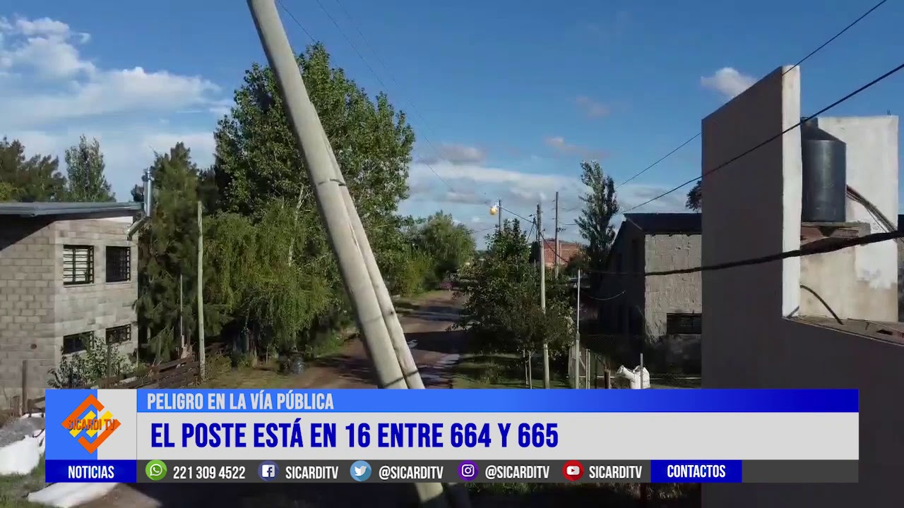 Un poste de media tensión está por caerse en Villa Garibaldi