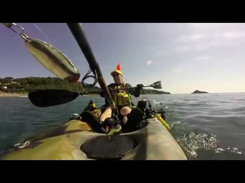 Kayak Fishing At Meadfoot Beach,Torquay Devon, July 2018 UK