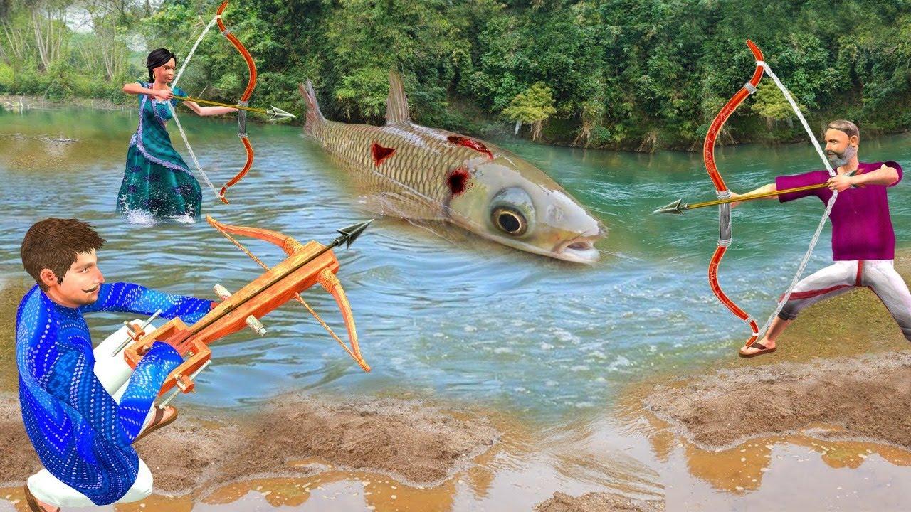 बांस क्रॉसबो मछली पकड़ने Primitive Bamboo Fishing Comedy Video हिंदी कहानियां Hindi Kahaniya Comedy