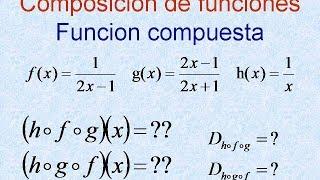 Composición de tres funciones dominio rango ejercicios resueltos, funciones compuestas,