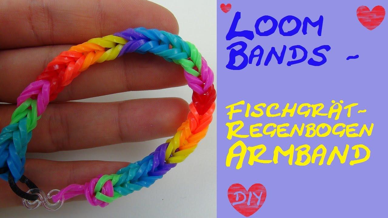 DIY Rainbow Loom Band mit Fischgrät-Muster Regenbogen / Anleitung ...