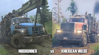American Wilds vs Spintires mudrunner | New Vehicles & Gameplay | Full comparison