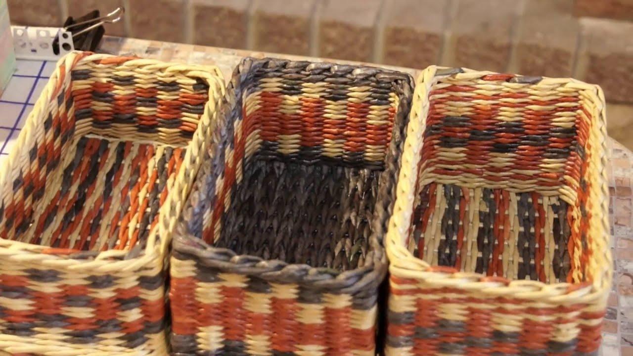 Прямые углы при плетении из газетных трубочек