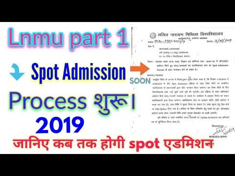 Spot Admission process 2019. Lnmu part 1 spot Admission process 2019. Ba/Bsc/B.Com Part 1 spot Admis
