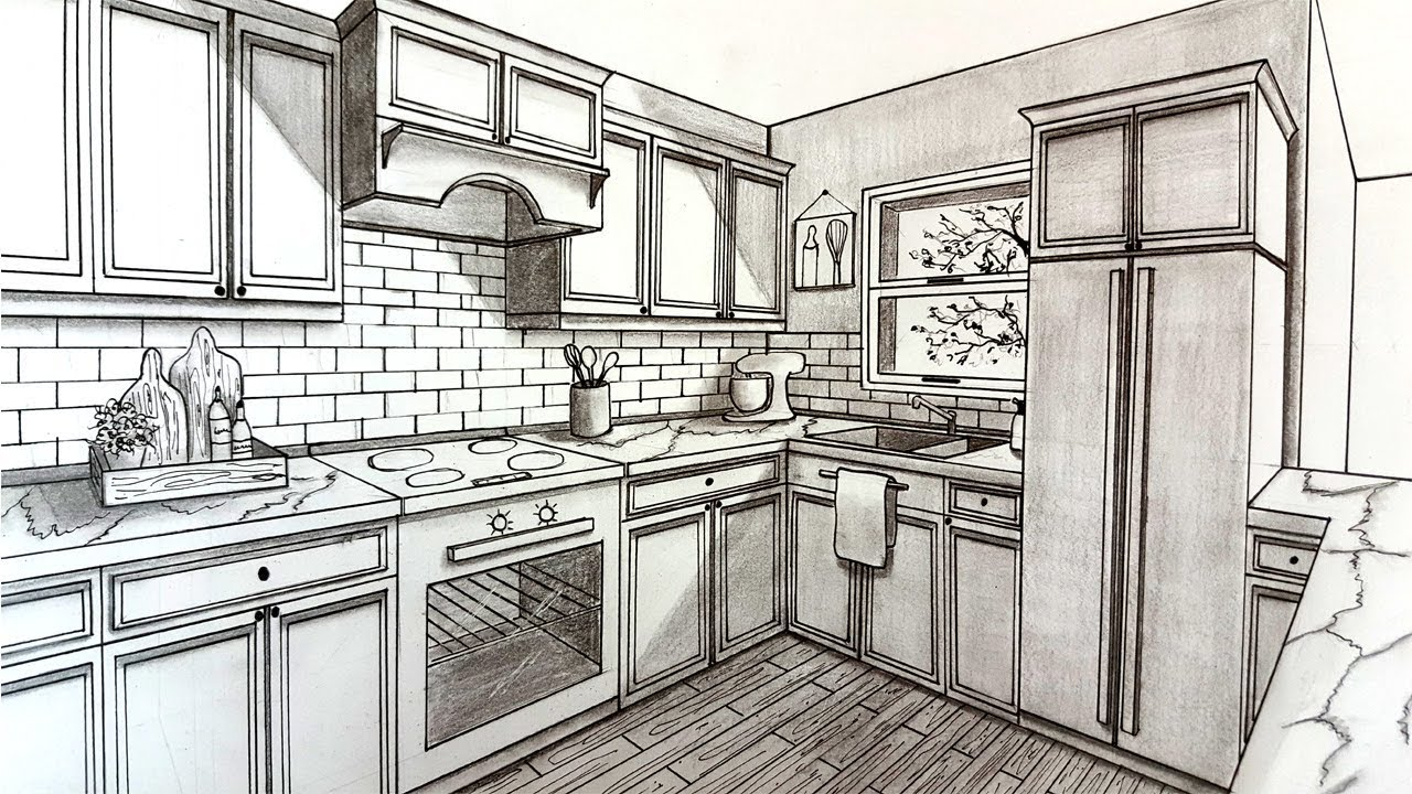 Drawing A Kitchen In Two Point Perspective Timelapse Youtube