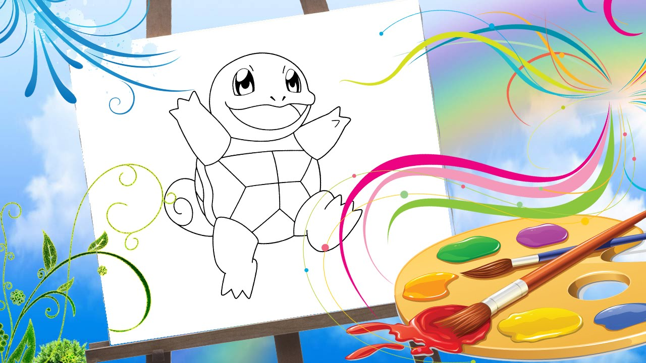 pokemon 1 squirtle coloring book video for kids colors for