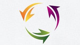 Adobe Illustrator CC   How to Make Circle Arrow Logo Design Tutorial   2D Logo Gradient Effect