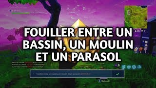 FOUILLER ENTRE A BASSIN, A MOULIN AND A PARASOL [FORTNitE PASSE OF COMBAT]