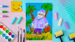 Как нарисовать доктора Айболита - урок рисования для детей от 4 лет, гуашь,  рисуем дома поэтапно