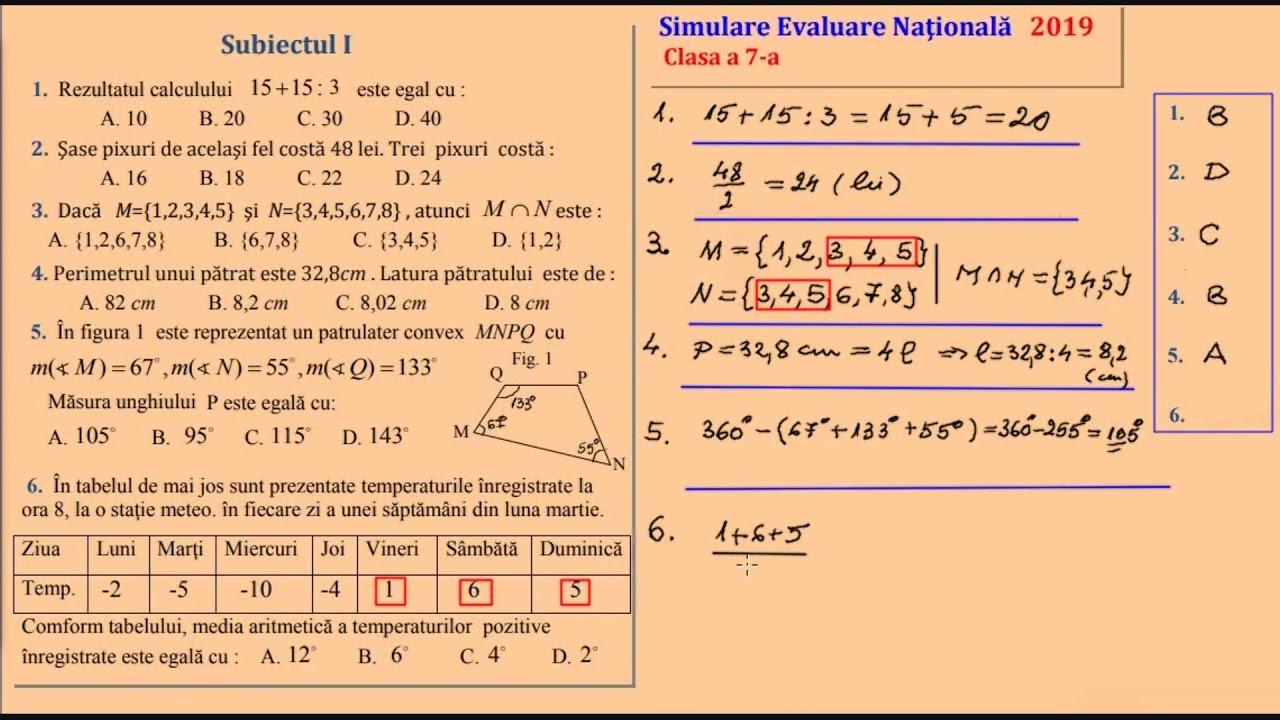 Simulare Clasa A 8 A 2019 Matematica: Simulare Clasa A 7 A 2019 Subiecte