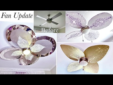 CEILING AND FAN UPDATE ON A BUDGET| HOW TO COVER YOUR FAN IN A RENTAL!