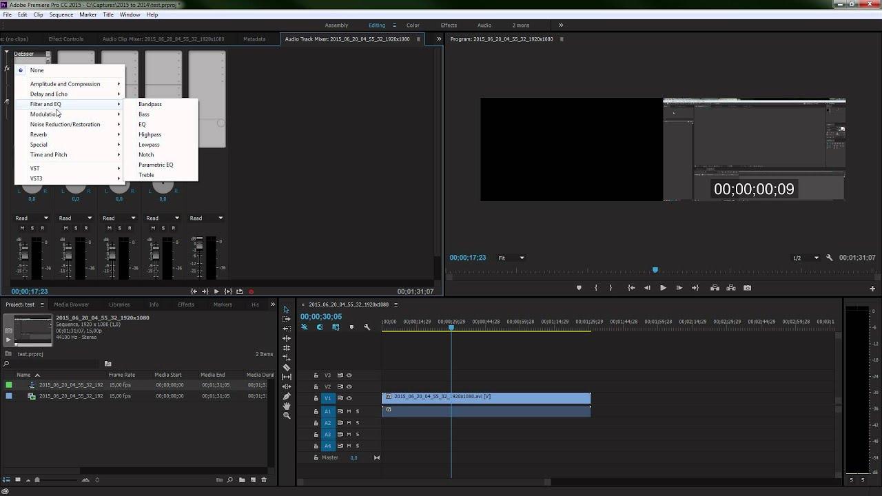 Глюк с эффектами звука в Adobe Premiere Pro CC 2015 - Баги 005
