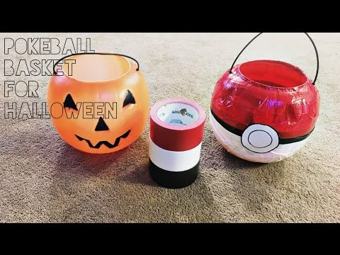 pokeball trick or treating basket for pokemon halloween costumes