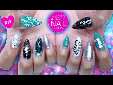 Bling Charms Acrylic Nail Art Tutorial 8