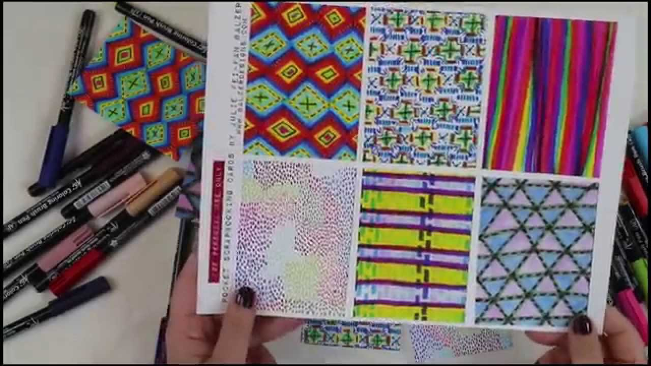 Doodle Pocket Scrapbooking Cards with Koi Coloring Brush Pens ...