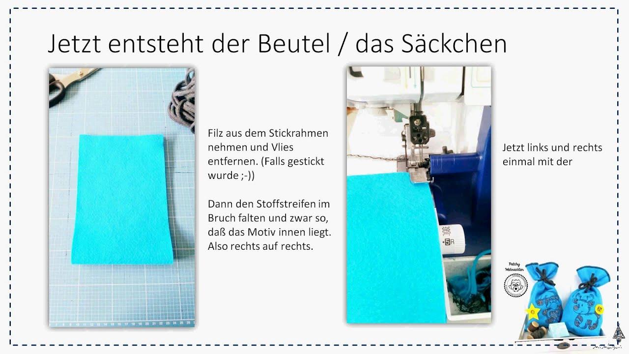 Anleitung Adventskalender Säckchen / Beutel nähen - YouTube