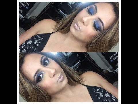 Electric blue smokey eye tutorial including how to apply false lashes!