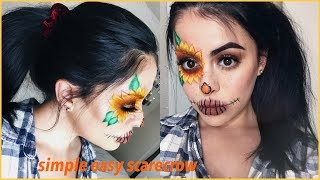 Super Easy Simple Halloween Scarecrow Makeup with Sunflower and Spa...