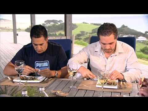 KAI ORA: Mussels, John Dory, rib-eye on the bone, & fruit salad for Julian Wilcox and Te Arahi Maipi