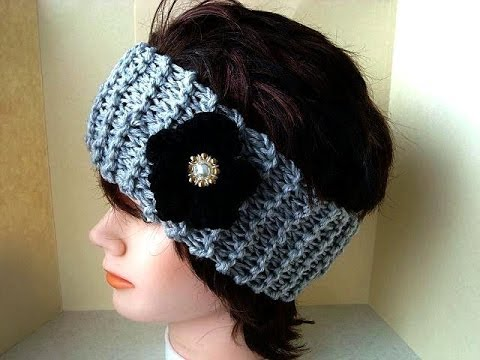Knitting Pattern Headband And Black Flower Free Video Tutorial
