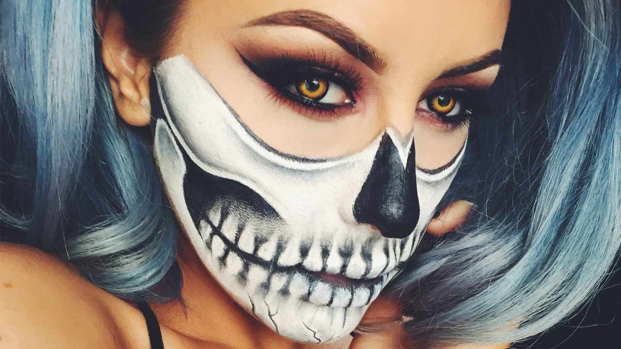 Halloween Skull Makeup - Chrisspy - YouTube