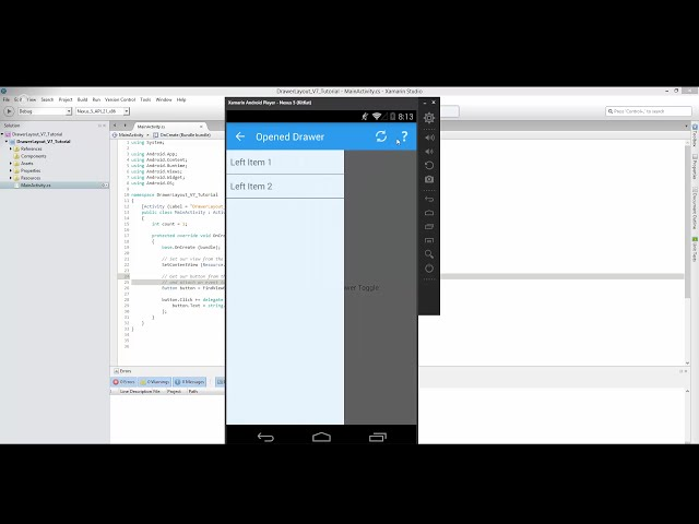Xamarin Android   48   Left Drawer Layout