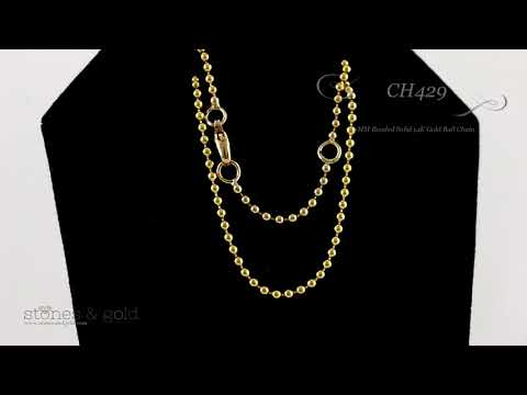 2MM Beaded Solid 14K Gold Ball Chain   CH429