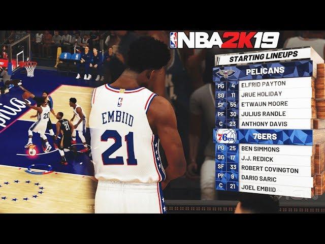 NBA 2K19 5v5 4K Gameplay - ANTHONY DAVIS TAKEOVER BADGE UNLOCKED! Sixers vs Pelicans For Xbox One X