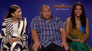 Zendaya, Jacob Batalon, and Laura Harrier on Spider-Man: Homecoming