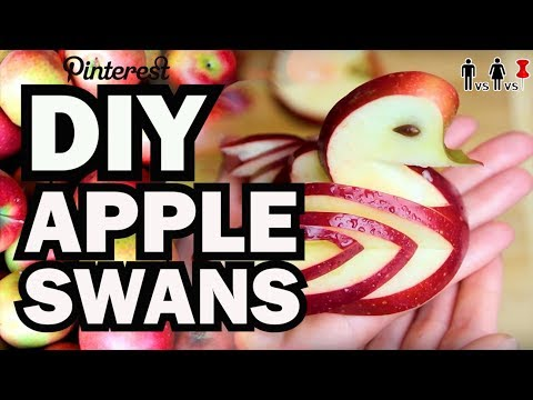 DIY Apple Swans - Man Vs Corinne Vs Pin
