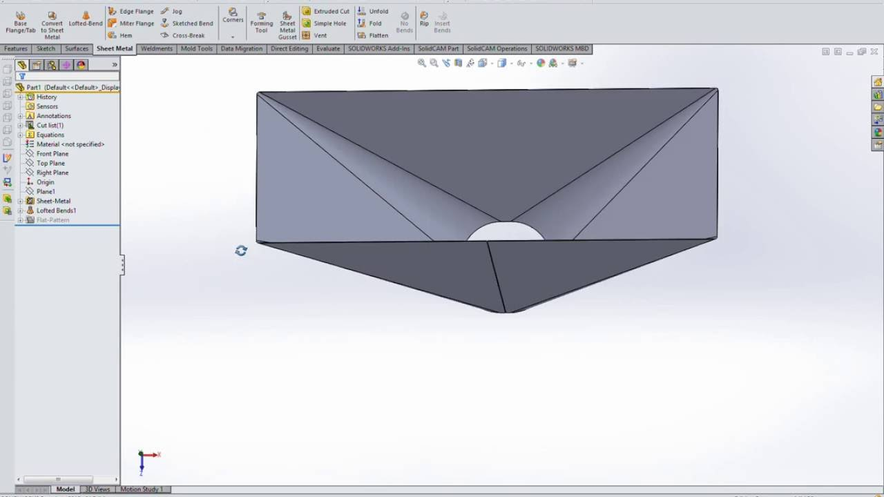 Development Steel Hoppers Flat Pattern In Solidworks Sheet