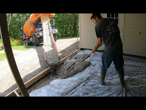 Pouring a concrete slab in a carport