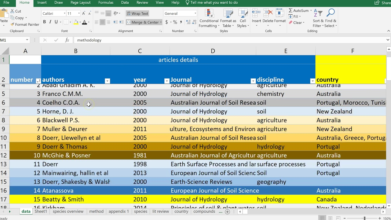 Using OneNote and Excel for academic note taking