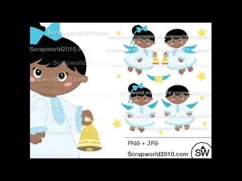 African-american christmas angel clipart