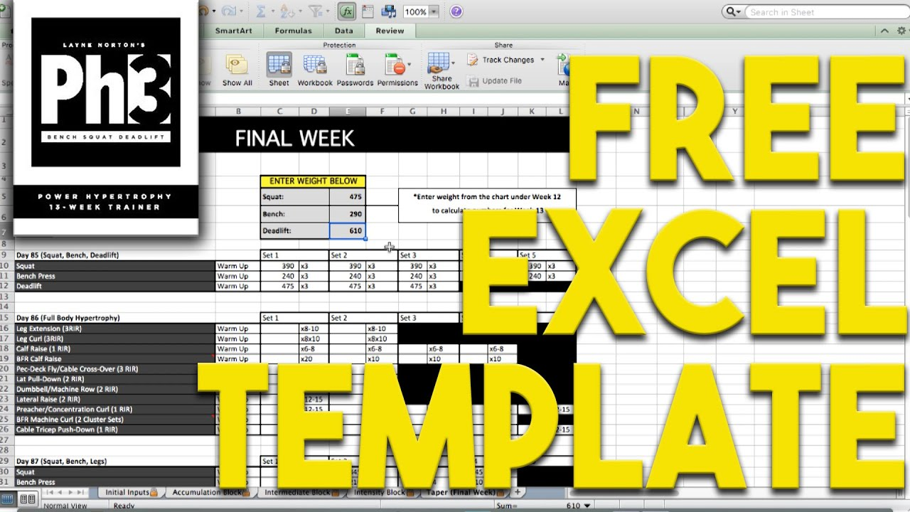 Layne norton 39 s ph3 program free excel spreadsheet youtube for Bodybuilding excel template