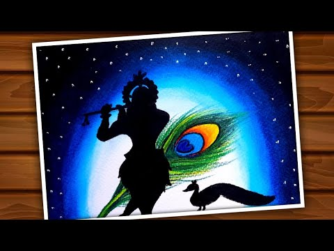 Krishna Janmashtami Painting By Oil Pastel Step By Step Very Easy / Janmashtami Special Drawing