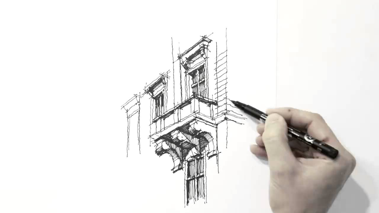 Amazing architecture sketch hand drawing must watch Online architecture drawing